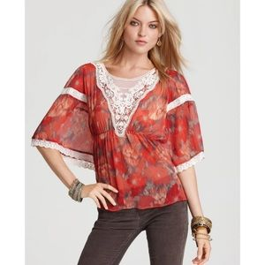 Free People Red Printed Daydreamer Top